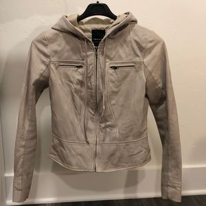 Touvé Leather Moto Jacket with Hood